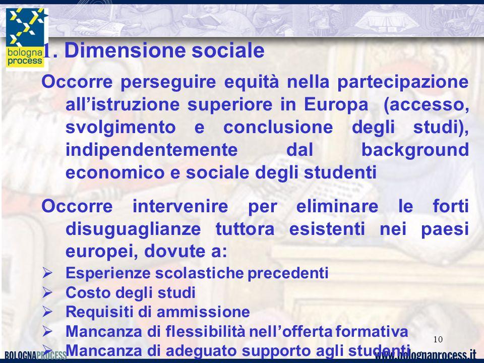 10 1. Dimensione sociale Occorre perseguire equità nella partecipazione all'istruzione superiore in Europa (accesso, svolgimento e conclusione degli s