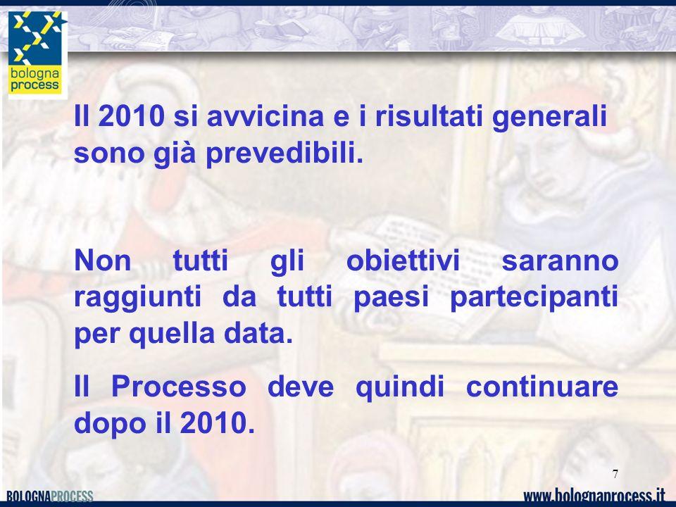7 Il 2010 si avvicina e i risultati generali sono già prevedibili. Non tutti gli obiettivi saranno raggiunti da tutti paesi partecipanti per quella da