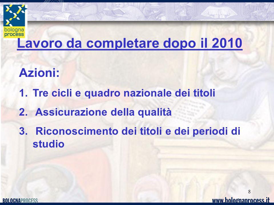 8 Lavoro da completare dopo il 2010 Azioni: 1.Tre cicli e quadro nazionale dei titoli 2. Assicurazione della qualità 3. Riconoscimento dei titoli e de