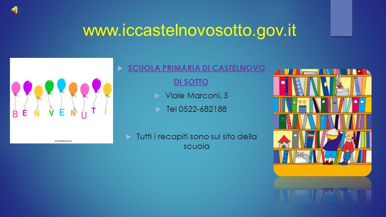 www.iccastelnovosotto.gov.it  SCUOLA PRIMARIA DI CASTELNOVO DI SOTTO  Viale Marconi, 5  Tel 0522-682188  Tutti i recapiti sono sul sito della scuo