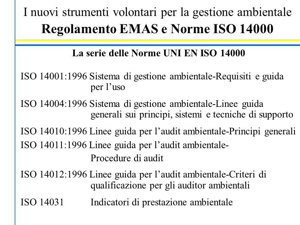 I nuovi strumenti volontari per la gestione ambientale Regolamento EMAS e Norme ISO 14000 La serie delle Norme UNI EN ISO 14000 ISO 14001:1996 Sistema di gestione ambientale-Requisiti e guida per l'uso ISO 14004:1996 Sistema di gestione ambientale-Linee guida generali sui principi, sistemi e tecniche di supporto ISO 14010:1996 Linee guida per l'audit ambientale-Principi generali ISO 14011:1996 Linee guida per l'audit ambientale- Procedure di audit ISO 14012:1996 Linee guida per l'audit ambientale-Criteri di qualificazione per gli auditor ambientali ISO 14031 Indicatori di prestazione ambientale