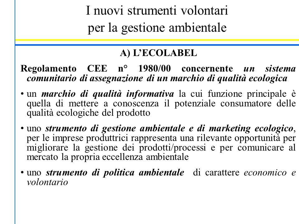 I nuovi strumenti volontari per la gestione ambientale A) L'ECOLABEL Regolamento CEE n° 1980/00 concernente un sistema comunitario di assegnazione di