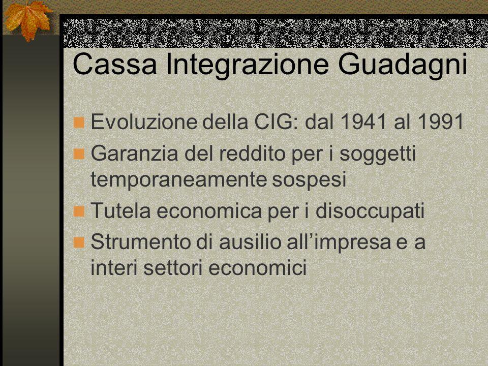 Cassa Integrazione Guadagni Evoluzione della CIG: dal 1941 al 1991 Garanzia del reddito per i soggetti temporaneamente sospesi Tutela economica per i disoccupati Strumento di ausilio all'impresa e a interi settori economici