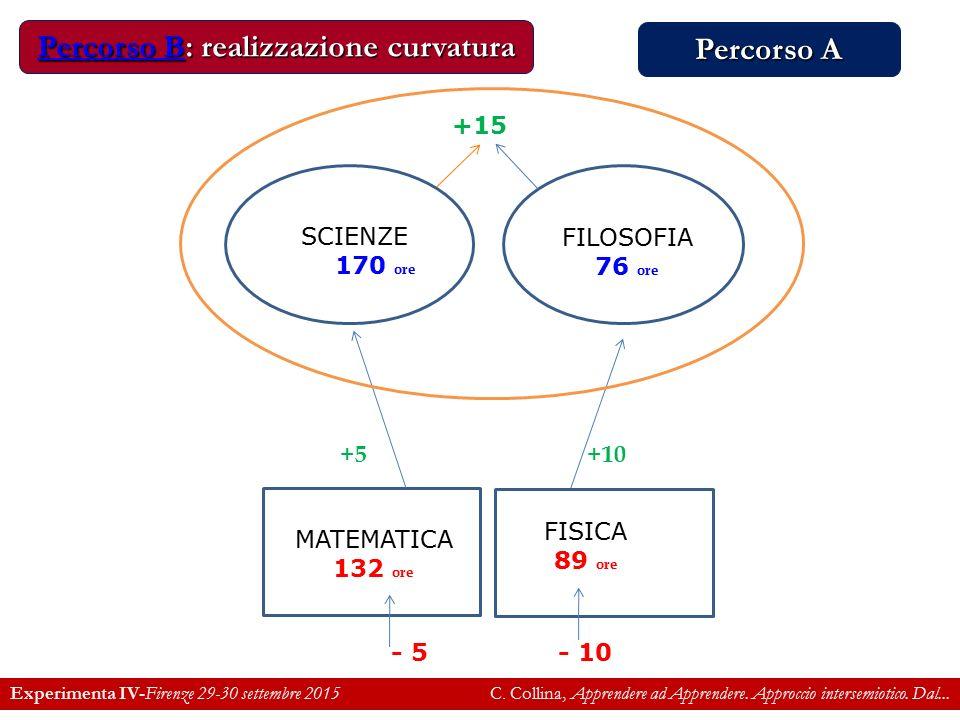 MATEMATICA 132 ore SCIENZE 170 ore FILOSOFIA 76 ore - 5 +10 +15 +5 FISICA 89 ore - 10 Percorso BPercorso B: realizzazione curvatura Percorso B Experimenta IV-Firenze 29-30 settembre 2015 C.