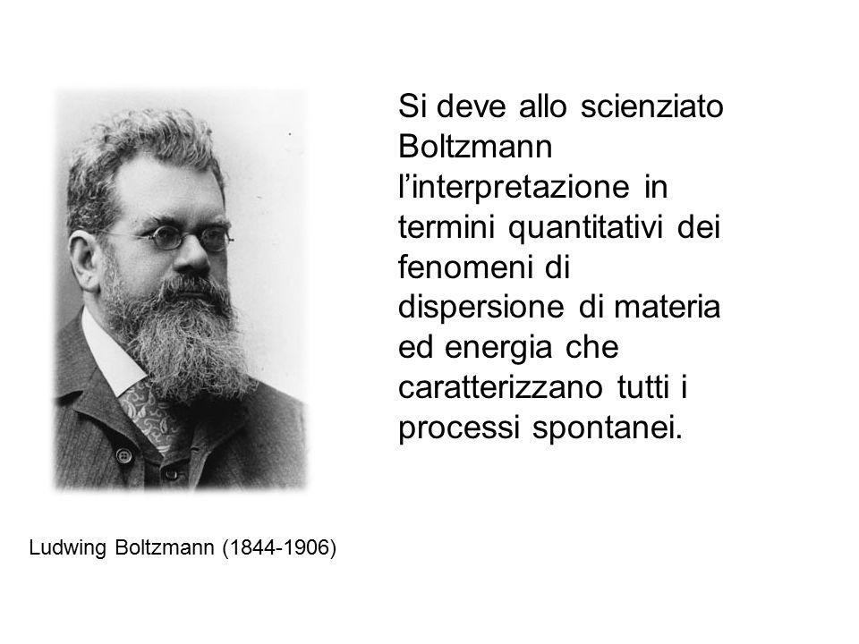Ludwing Boltzmann (1844-1906) Si deve allo scienziato Boltzmann l'interpretazione in termini quantitativi dei fenomeni di dispersione di materia ed energia che caratterizzano tutti i processi spontanei.