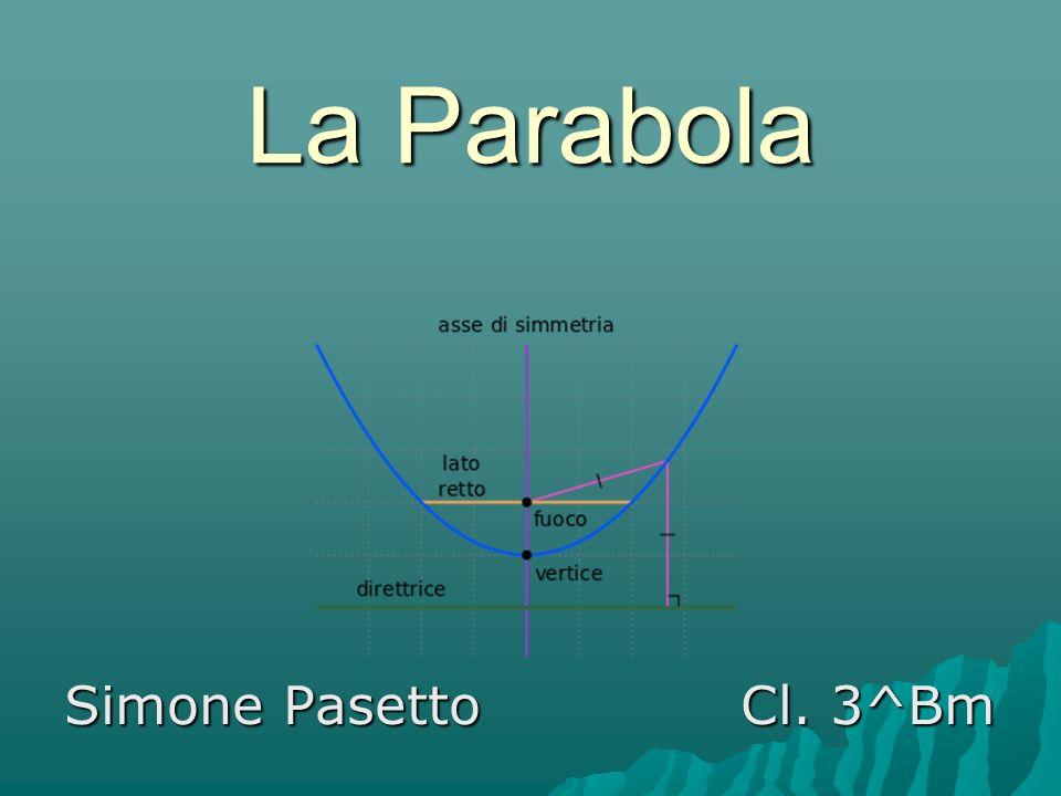 1) La parabola come sezione conica  Innanzitutto definiamo la parabola: essa è un luogo geometrico in cui tutti i punti da cui è composta sono equidistanti da una retta detta direttrice e da un punto detto fuoco.