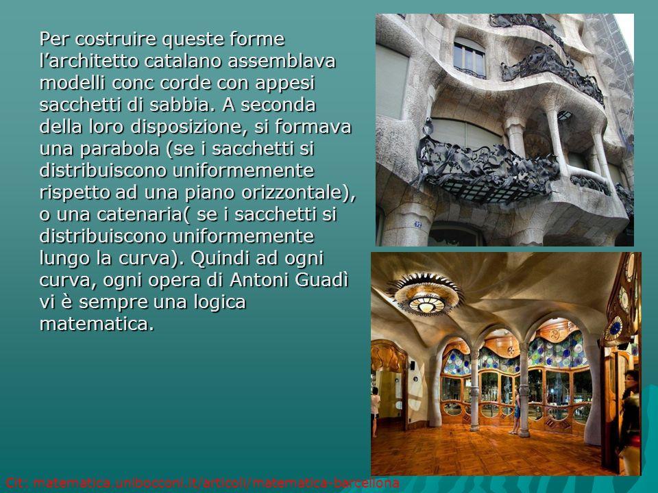 Per costruire queste forme l'architetto catalano assemblava modelli conc corde con appesi sacchetti di sabbia. A seconda della loro disposizione, si f