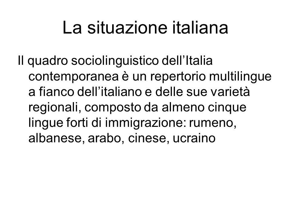 La situazione italiana Il quadro sociolinguistico dell'Italia contemporanea è un repertorio multilingue a fianco dell'italiano e delle sue varietà reg