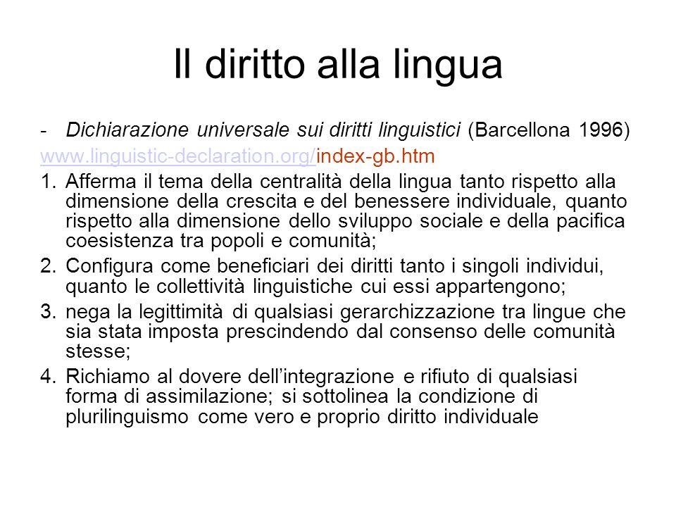 Il diritto alla lingua -Dichiarazione universale sui diritti linguistici (Barcellona 1996) www.linguistic-declaration.org/www.linguistic-declaration.o