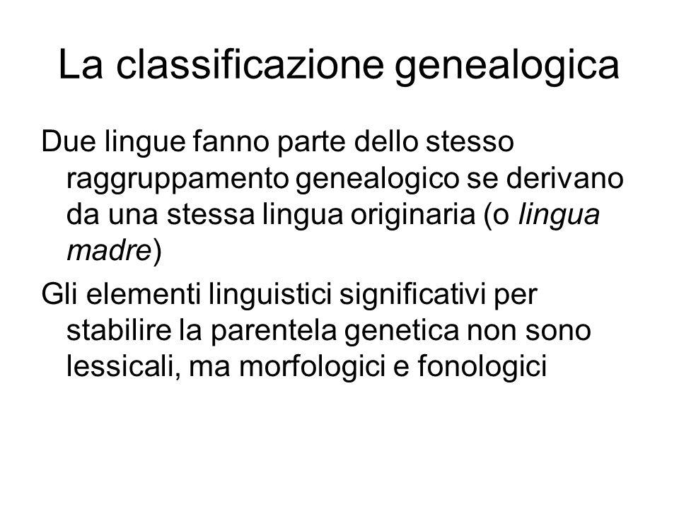 Due lingue fanno parte dello stesso raggruppamento genealogico se derivano da una stessa lingua originaria (o lingua madre) Gli elementi linguistici s
