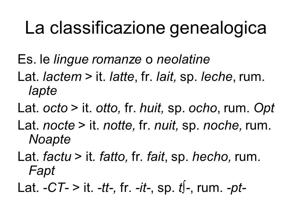 La classificazione genealogica Es.le lingue romanze o neolatine Lat.