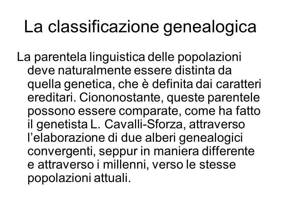 La parentela linguistica delle popolazioni deve naturalmente essere distinta da quella genetica, che è definita dai caratteri ereditari. Ciononostante