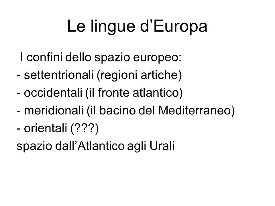 Le lingue d'Europa I confini dello spazio europeo: - settentrionali (regioni artiche) - occidentali (il fronte atlantico) - meridionali (il bacino del