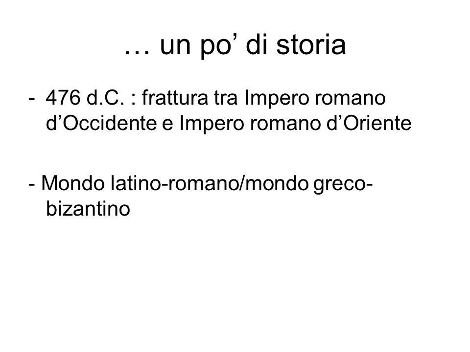 … un po' di storia -476 d.C. : frattura tra Impero romano d'Occidente e Impero romano d'Oriente - Mondo latino-romano/mondo greco- bizantino