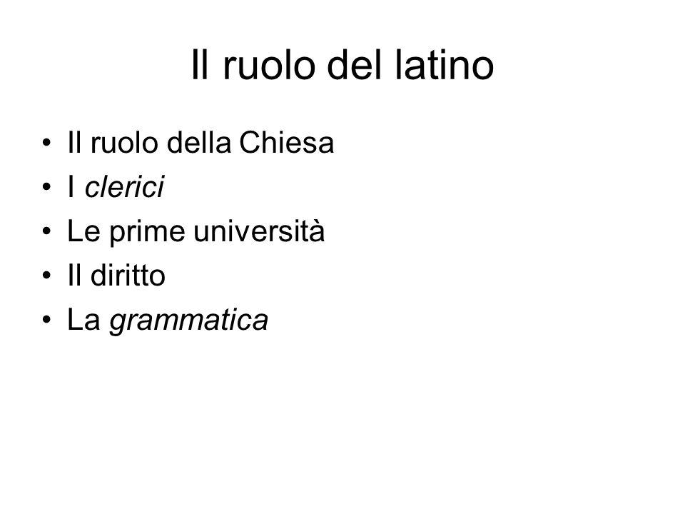 Il ruolo del latino Il ruolo della Chiesa I clerici Le prime università Il diritto La grammatica