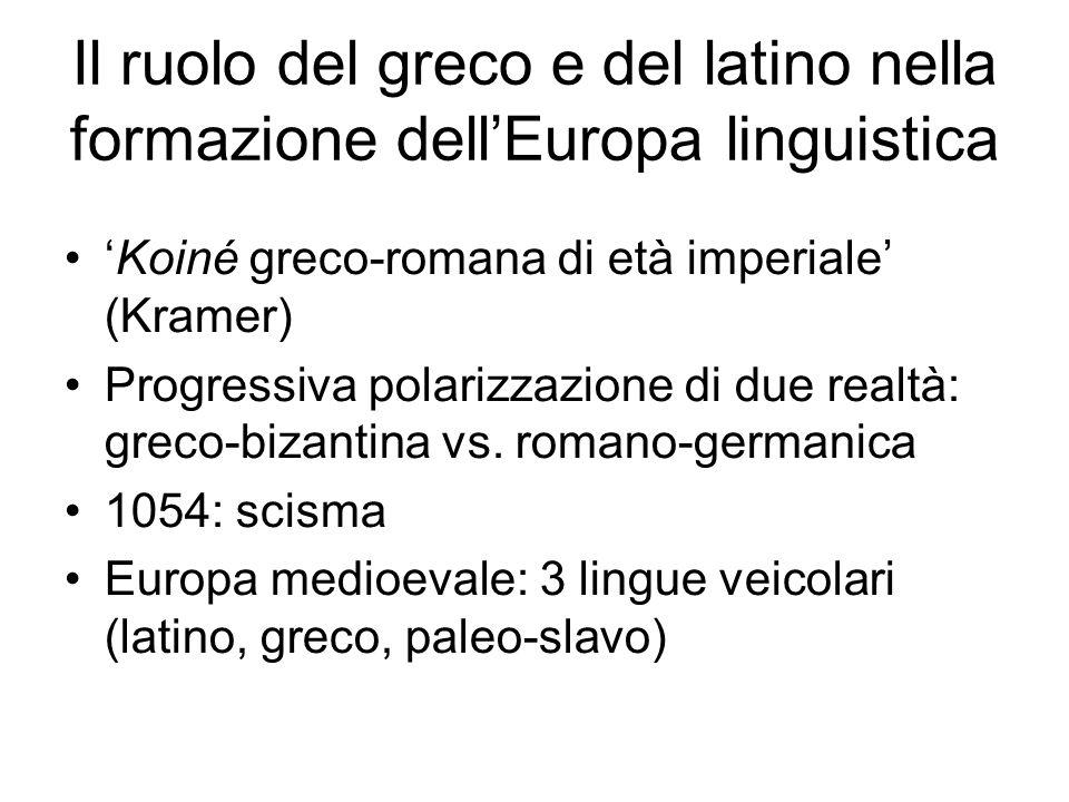 Il ruolo del greco e del latino nella formazione dell'Europa linguistica 'Koiné greco-romana di età imperiale' (Kramer) Progressiva polarizzazione di