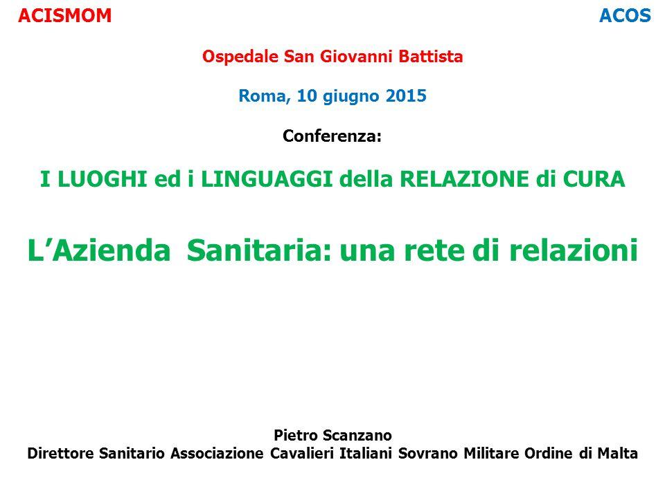 ACISMOM ACOS Ospedale San Giovanni Battista Roma, 10 giugno 2015 Conferenza: I LUOGHI ed i LINGUAGGI della RELAZIONE di CURA L'Azienda Sanitaria: una