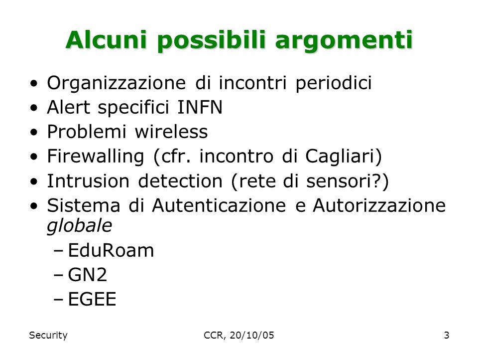 SecurityCCR, 20/10/053 Alcuni possibili argomenti Organizzazione di incontri periodici Alert specifici INFN Problemi wireless Firewalling (cfr.