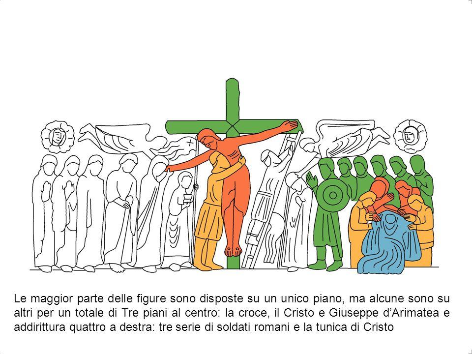 Le maggior parte delle figure sono disposte su un unico piano, ma alcune sono su altri per un totale di Tre piani al centro: la croce, il Cristo e Giuseppe d'Arimatea e addirittura quattro a destra: tre serie di soldati romani e la tunica di Cristo