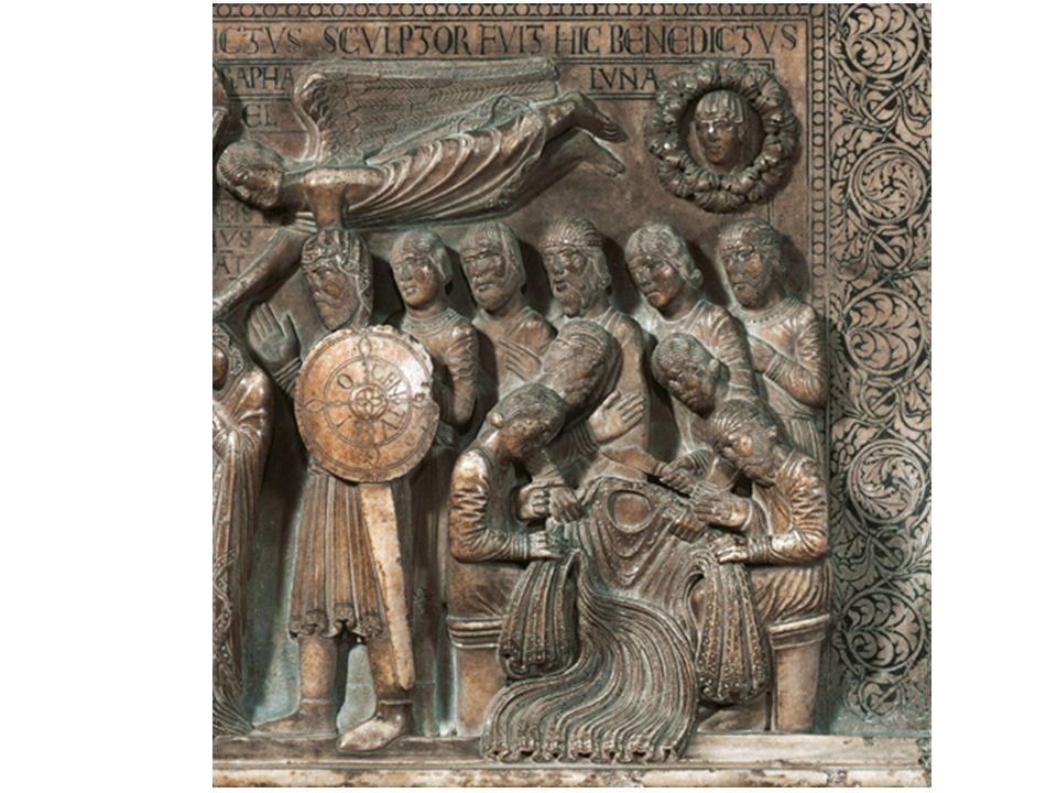 Capitelli figurati Allo stesso pulpito di cui faceva parte la Deposizione appartenevano anche i tre capitelli figurati» con scene tratte dal libro della Genesi e dal Libro dei Re t Adamo ed Eva condotti nel Paradiso Terrestre