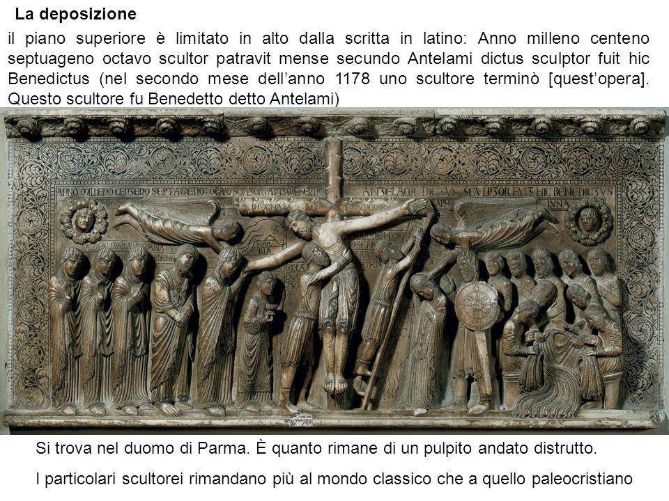 La deposizione Si trova nel duomo di Parma.È quanto rimane di un pulpito andato distrutto.