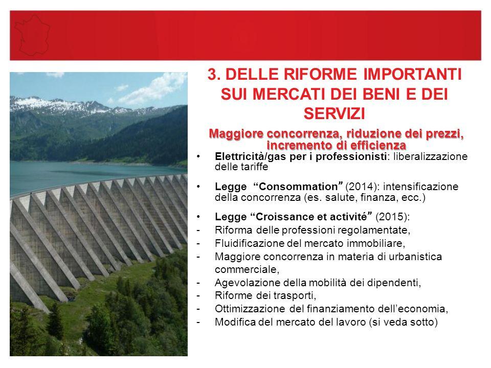 3. DELLE RIFORME IMPORTANTI SUI MERCATI DEI BENI E DEI SERVIZI Maggiore concorrenza, riduzione dei prezzi, incremento di efficienza Elettricità/gas pe