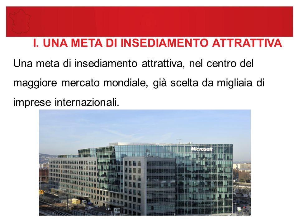 I. UNA META DI INSEDIAMENTO ATTRATTIVA Una meta di insediamento attrattiva, nel centro del maggiore mercato mondiale, già scelta da migliaia di impres