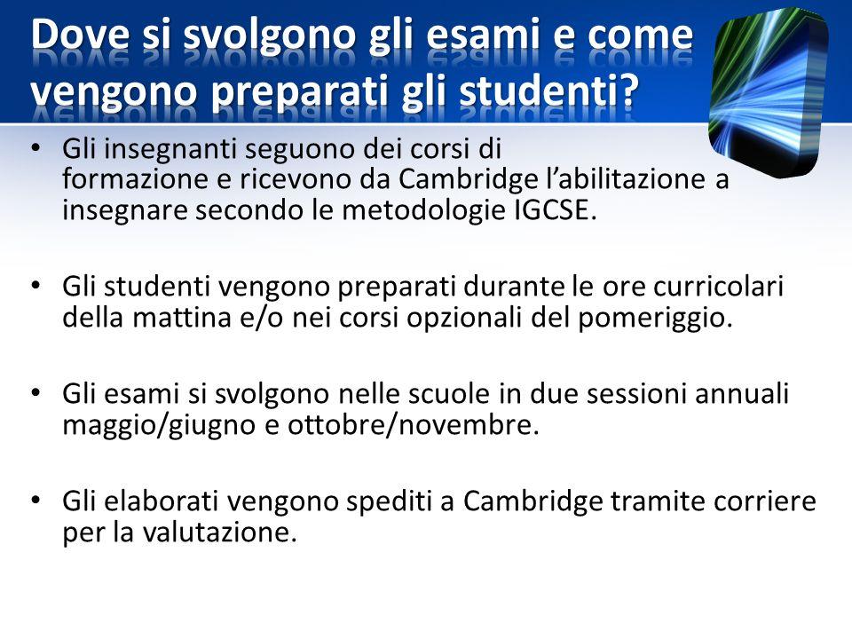 Gli insegnanti seguono dei corsi di formazione e ricevono da Cambridge l'abilitazione a insegnare secondo le metodologie IGCSE.