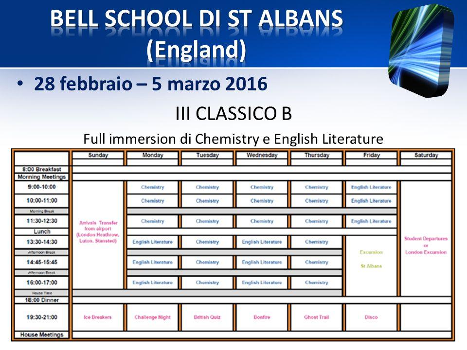 28 febbraio – 5 marzo 2016 III CLASSICO B Full immersion di Chemistry e English Literature