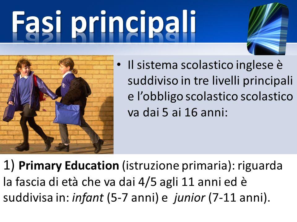 1) Primary Education (istruzione primaria): riguarda la fascia di età che va dai 4/5 agli 11 anni ed è suddivisa in: infant (5-7 anni) e junior (7-11 anni).