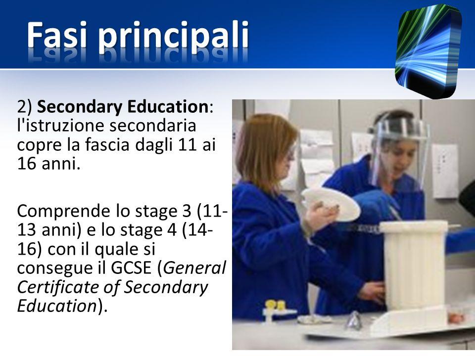 2) Secondary Education: l istruzione secondaria copre la fascia dagli 11 ai 16 anni.