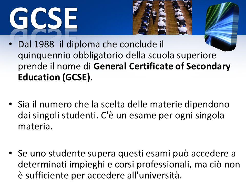 Dal 1988 il diploma che conclude il quinquennio obbligatorio della scuola superiore prende il nome di General Certificate of Secondary Education (GCSE).