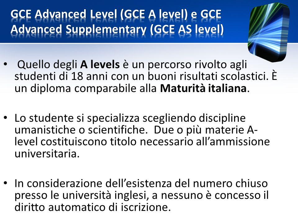 Quello degli A levels è un percorso rivolto agli studenti di 18 anni con un buoni risultati scolastici.