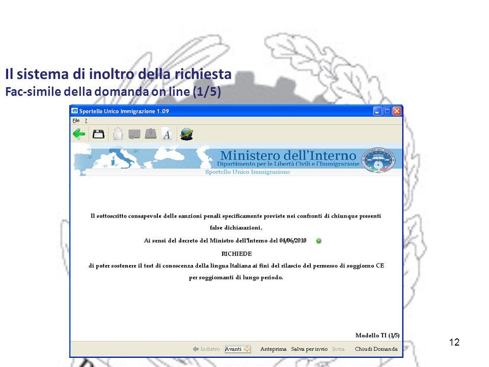 12 Il sistema di inoltro della richiesta Fac-simile della domanda on line (1/5)