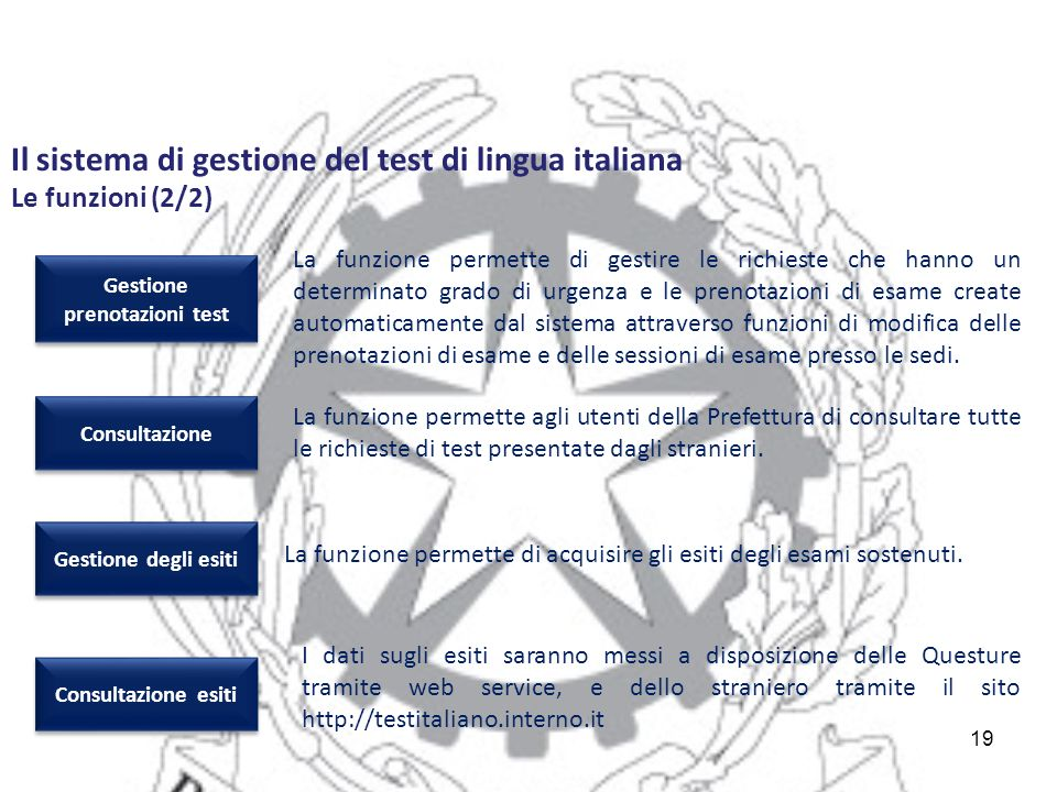 19 La funzione permette agli utenti della Prefettura di consultare tutte le richieste di test presentate dagli stranieri.