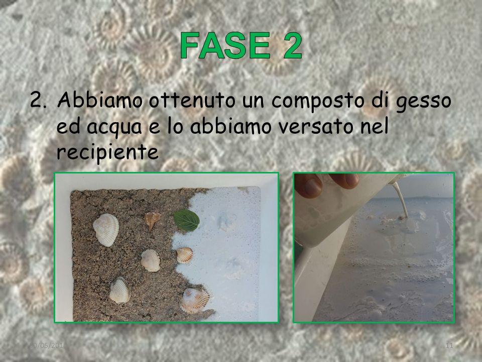 2.Abbiamo ottenuto un composto di gesso ed acqua e lo abbiamo versato nel recipiente 30/05/201511