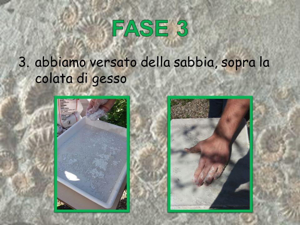 3.abbiamo versato della sabbia, sopra la colata di gesso 30/05/201512