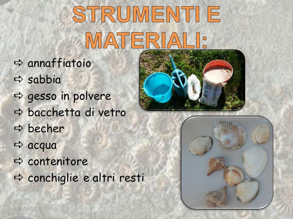 annaffiatoio  sabbia  gesso in polvere  bacchetta di vetro  becher  acqua  contenitore  conchiglie e altri resti 30/05/20159