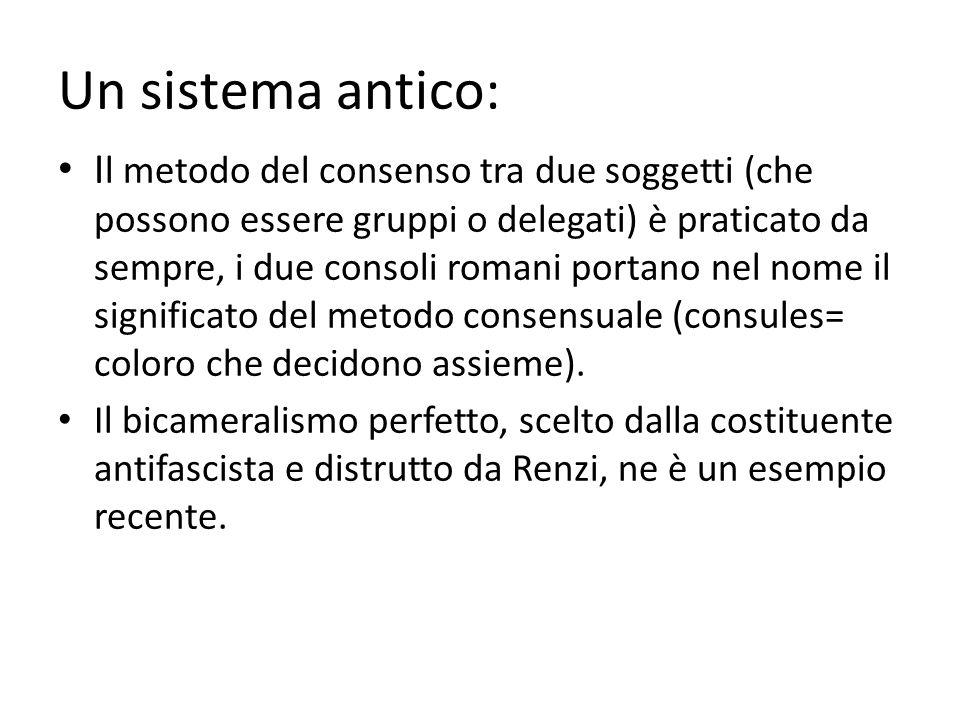 Un sistema antico: I l metodo del consenso tra due soggetti (che possono essere gruppi o delegati) è praticato da sempre, i due consoli romani portano nel nome il significato del metodo consensuale (consules= coloro che decidono assieme).
