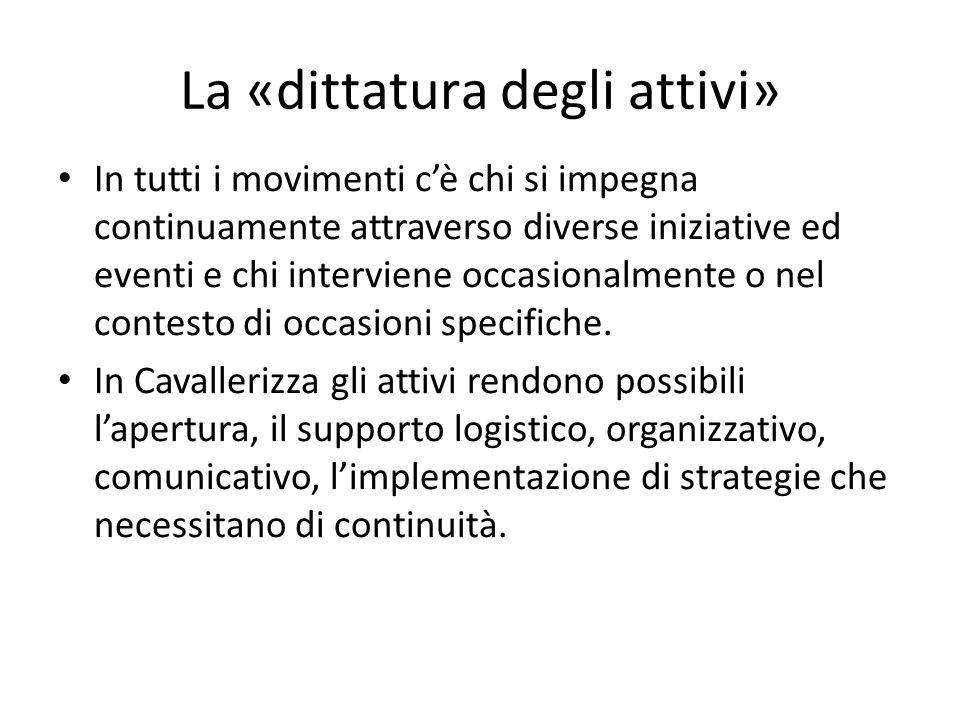 La «dittatura degli attivi» In tutti i movimenti c'è chi si impegna continuamente attraverso diverse iniziative ed eventi e chi interviene occasionalmente o nel contesto di occasioni specifiche.