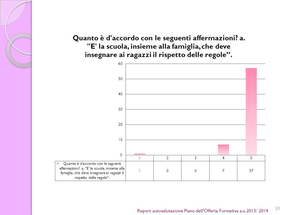 20 Report autovalutazione Piano dell Offerta Formativa a.s. 2013/ 2014