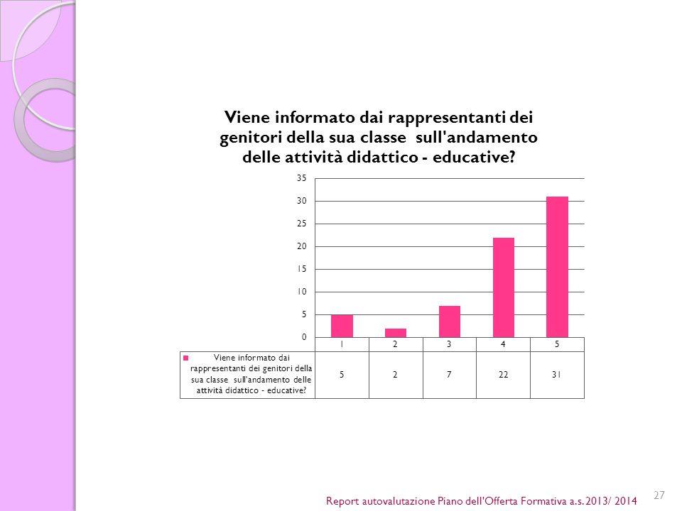 27 Report autovalutazione Piano dell Offerta Formativa a.s. 2013/ 2014