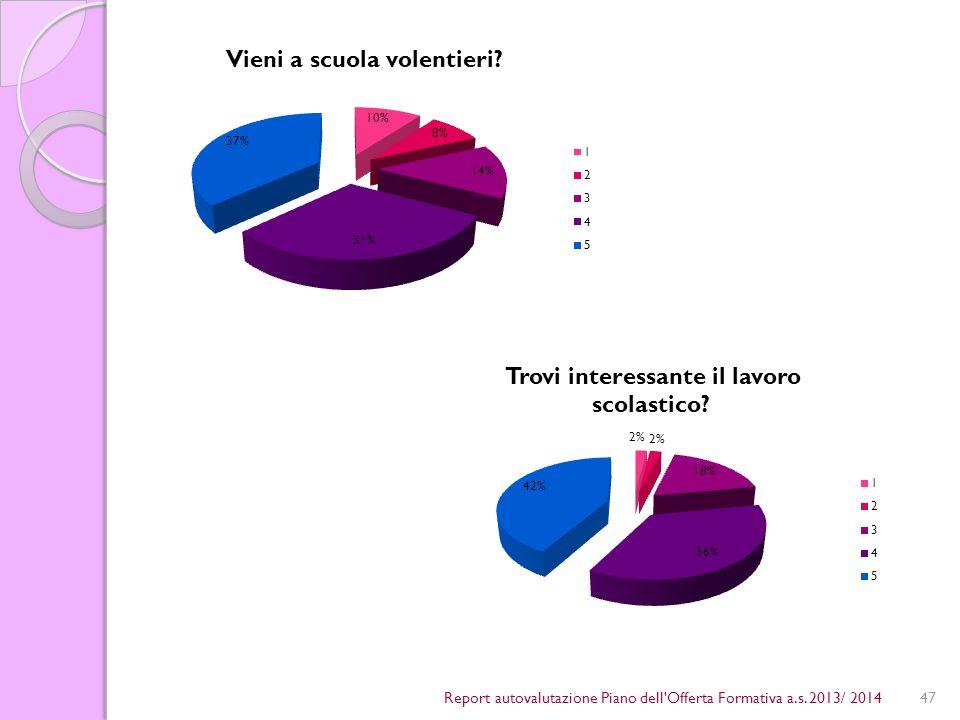 47Report autovalutazione Piano dell Offerta Formativa a.s. 2013/ 2014