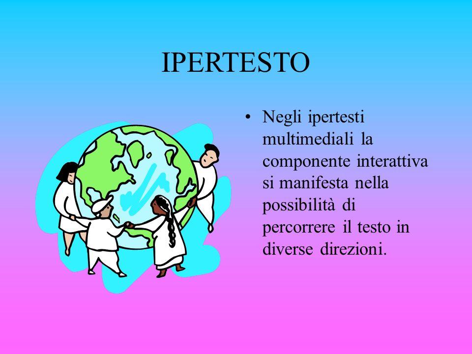 IPERTESTO Negli ipertesti multimediali la componente interattiva si manifesta nella possibilità di percorrere il testo in diverse direzioni.