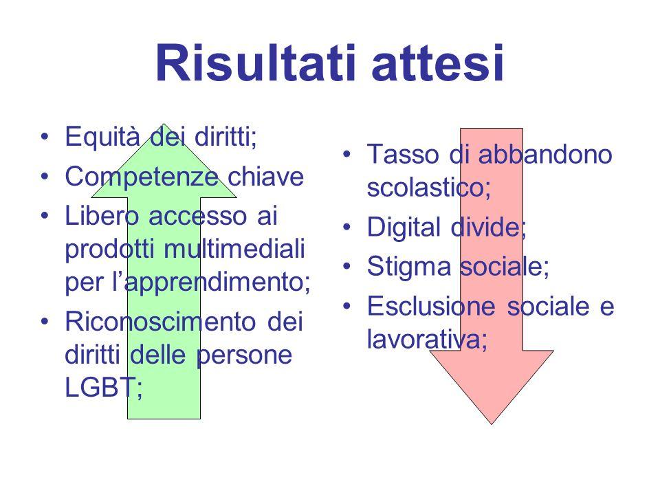 Risultati attesi Equità dei diritti; Competenze chiave Libero accesso ai prodotti multimediali per l'apprendimento; Riconoscimento dei diritti delle persone LGBT; Tasso di abbandono scolastico; Digital divide; Stigma sociale; Esclusione sociale e lavorativa;