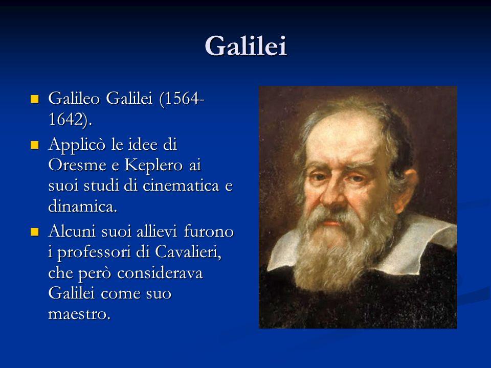 Galilei Galileo Galilei (1564- 1642). Galileo Galilei (1564- 1642). Applicò le idee di Oresme e Keplero ai suoi studi di cinematica e dinamica. Applic