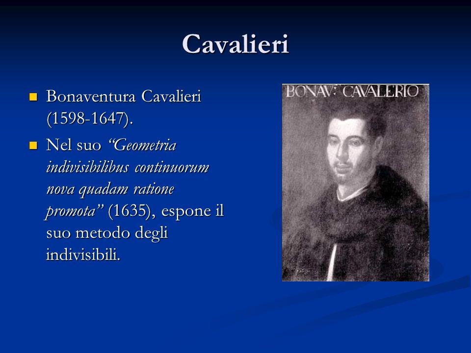 """Cavalieri Bonaventura Cavalieri (1598-1647). Bonaventura Cavalieri (1598-1647). Nel suo """"Geometria indivisibilibus continuorum nova quadam ratione pro"""