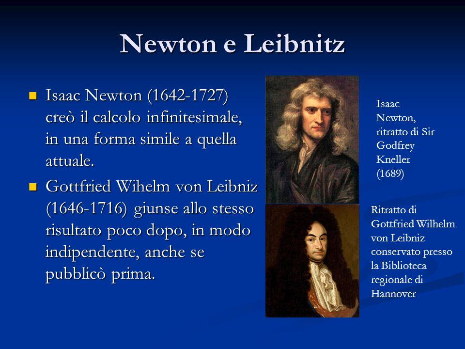 Newton e Leibnitz Isaac Newton (1642-1727) creò il calcolo infinitesimale, in una forma simile a quella attuale. Isaac Newton (1642-1727) creò il calc