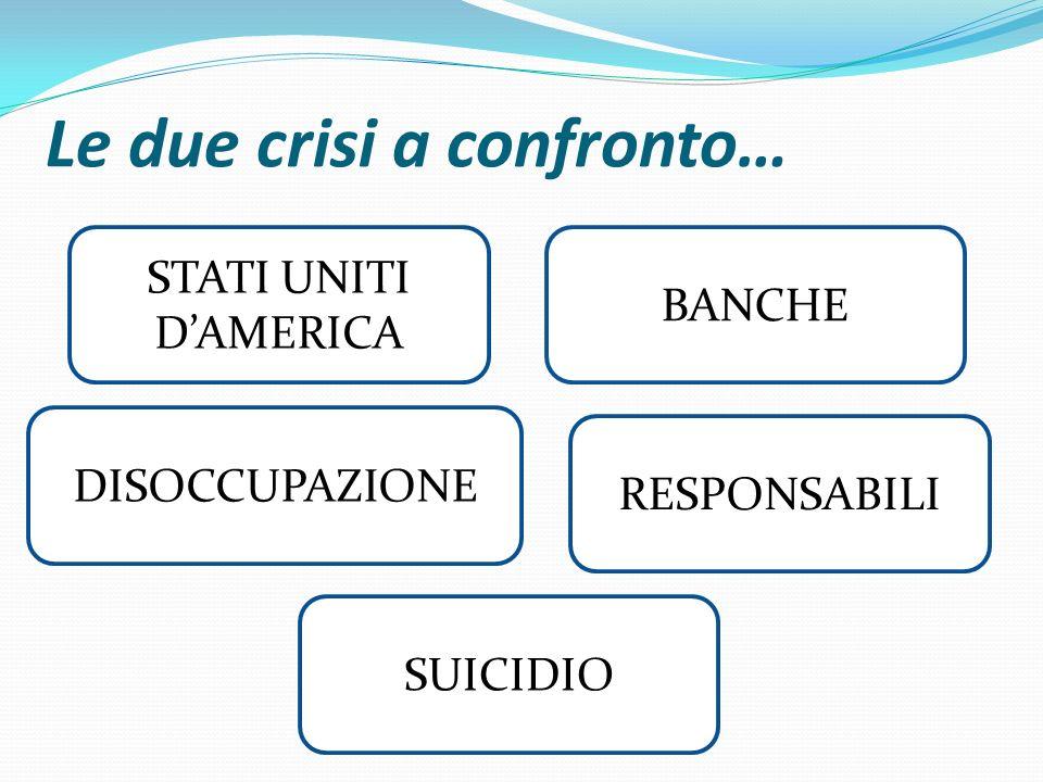 Le due crisi a confronto… STATI UNITI D'AMERICA DISOCCUPAZIONE BANCHE SUICIDIO RESPONSABILI
