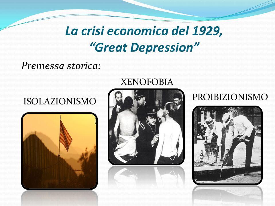 """La crisi economica del 1929, """"Great Depression"""" Premessa storica: ISOLAZIONISMO XENOFOBIA PROIBIZIONISMO"""